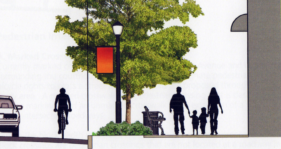 An urban design plan illustration of streetscaping, bicycler, and family walking on the sidewalk.